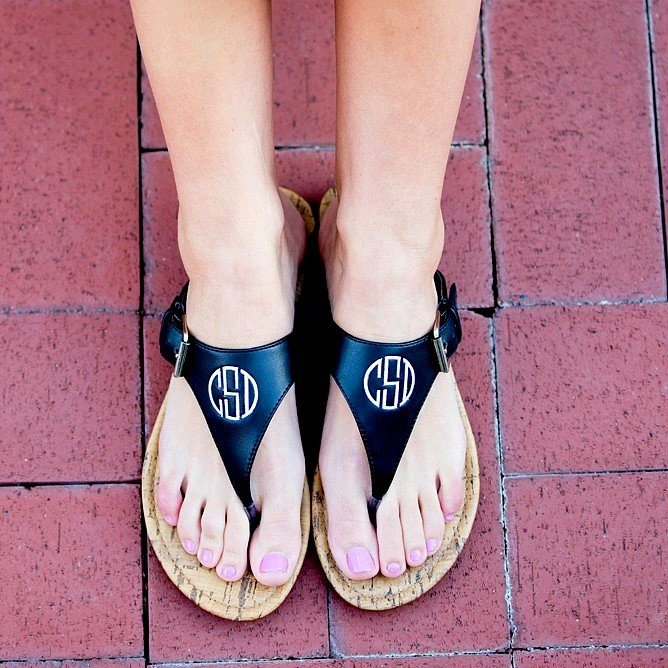 Custom embroidered monogram on black faux leather everyday sandals