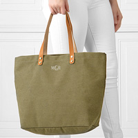 Light green washed canvas tote bags personalized with three letter monogram