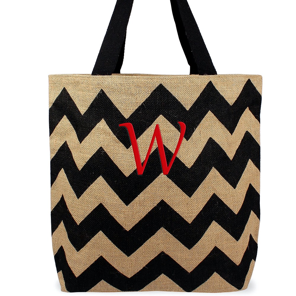 Custom embroidered initial on chevron natural jute tote bag black