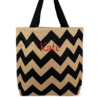 Custom embroidered name on chevron natural jute tote bag black