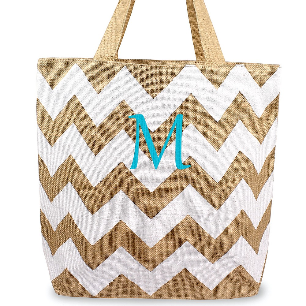 Custom embroidered initial on chevron natural jute tote bag white