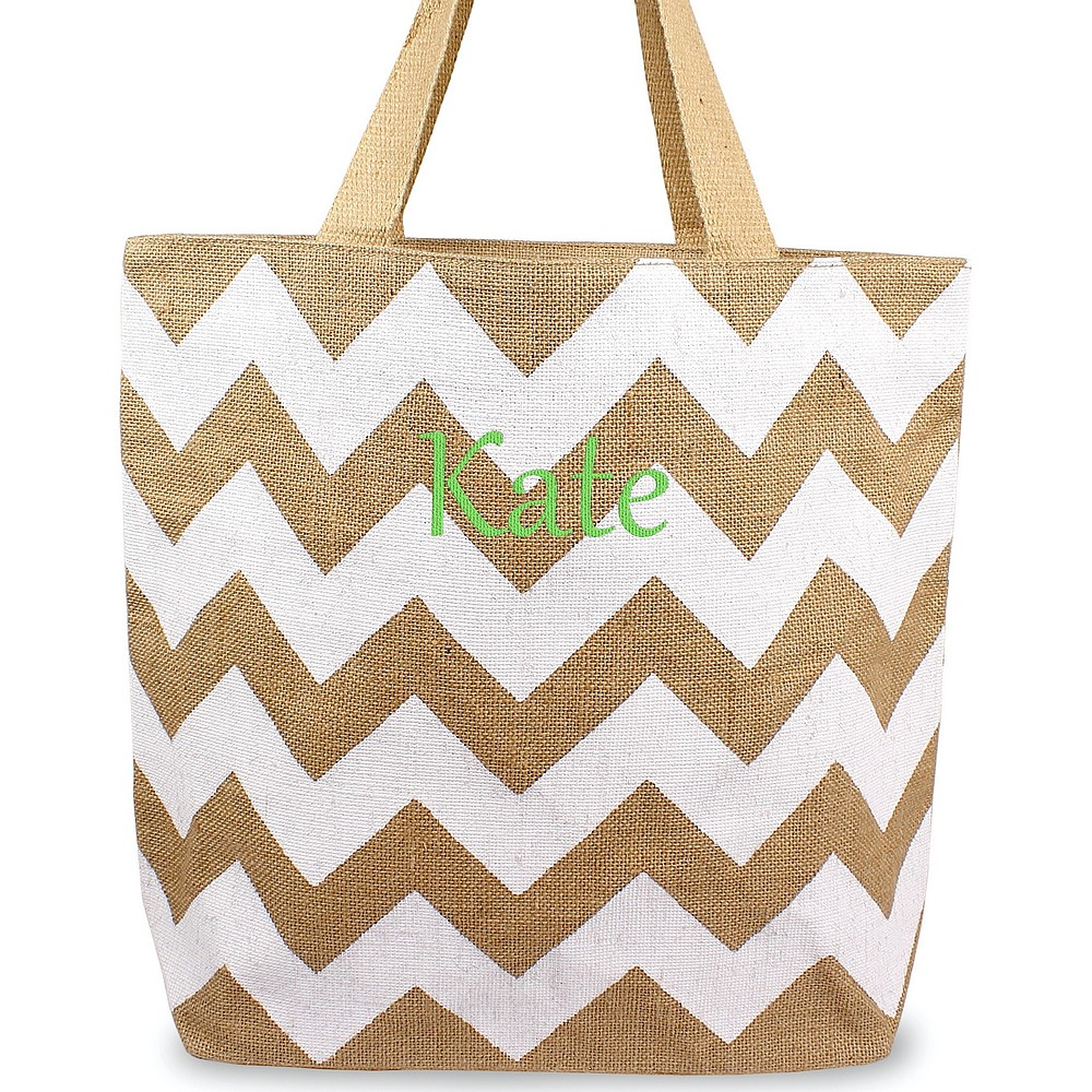 Custom embroidered name on chevron natural jute tote bag white