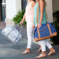 Women carrying the Ella Grey and Charlie Dot Weekender Tote Bags