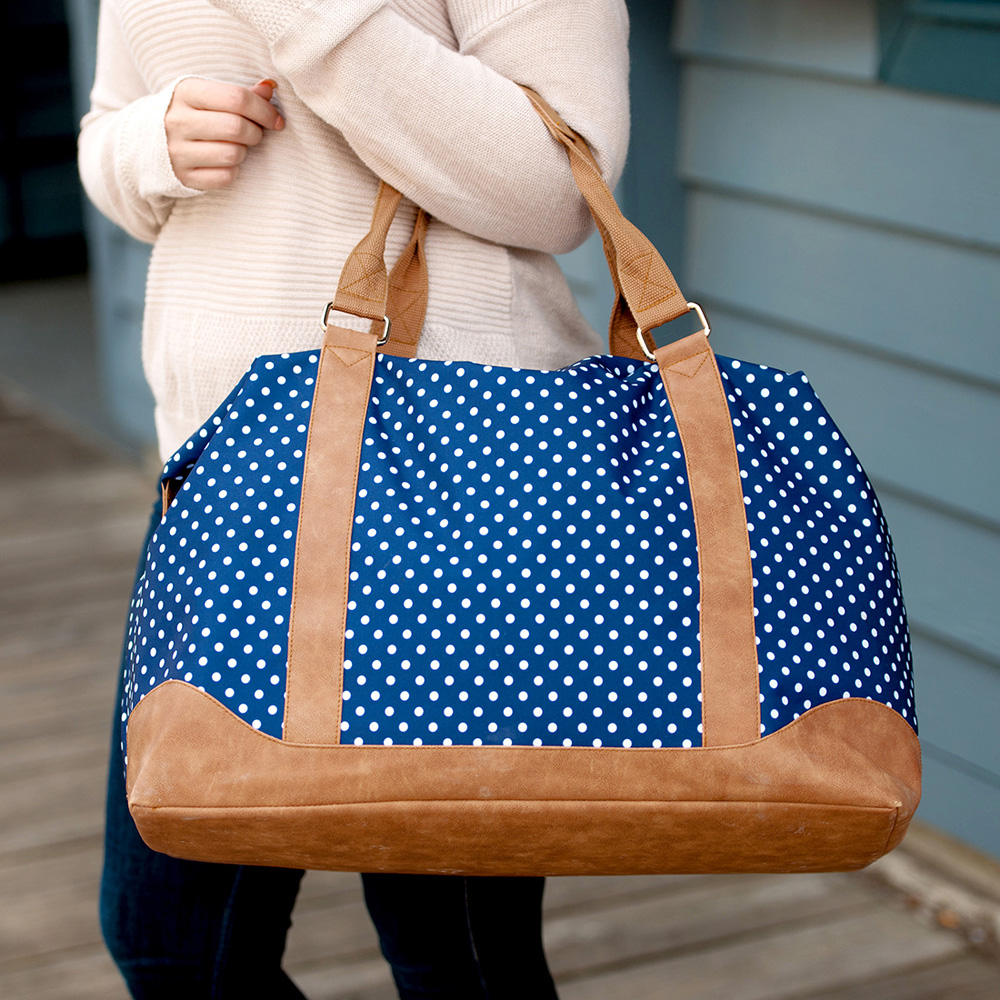 Woman Carrying the Charlie Dot Weekender Tote Bag