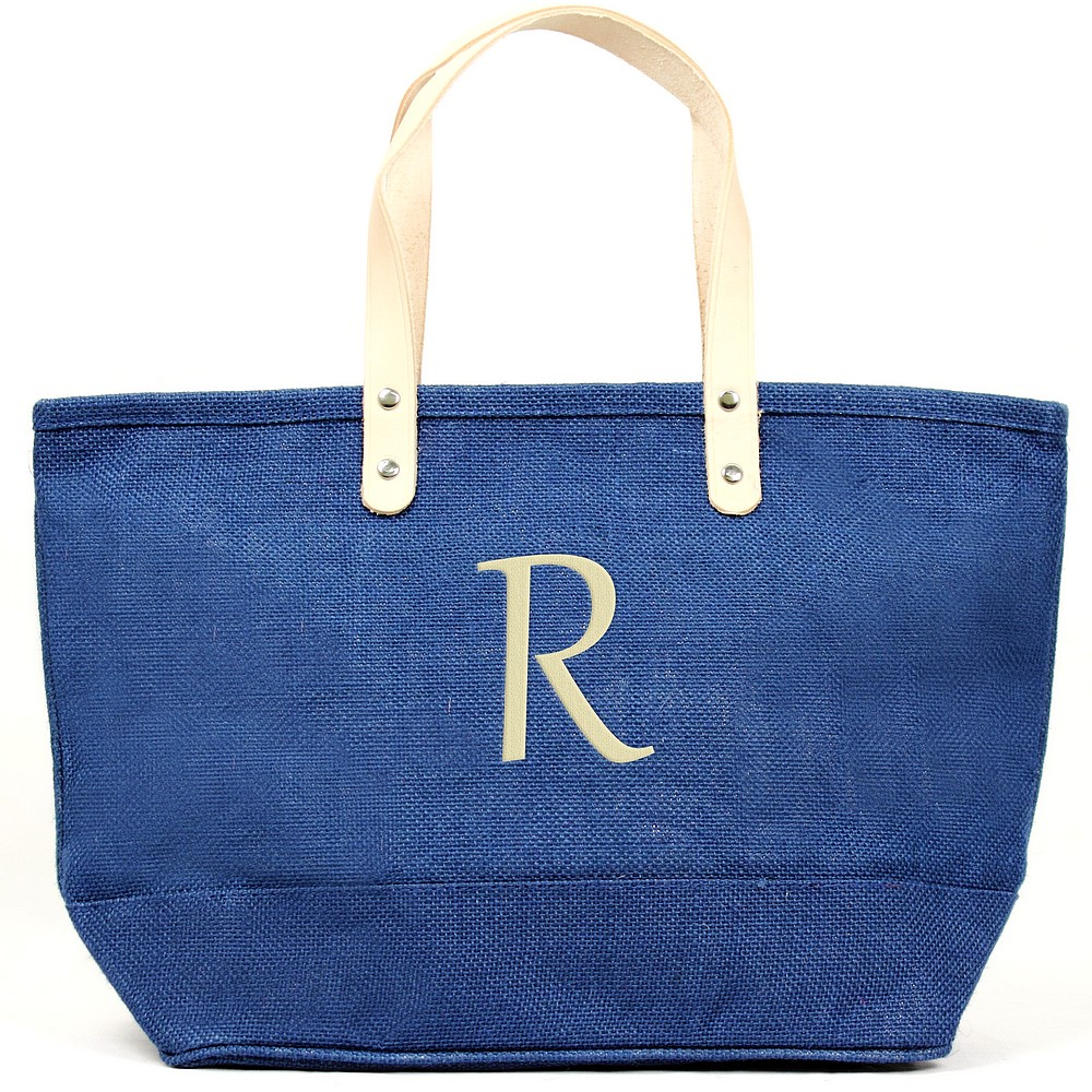 Custom embroidered initial on nantucket tote bag blue