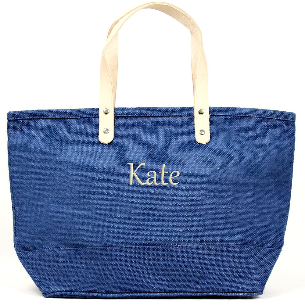Custom embroidered name on nantucket tote bag blue