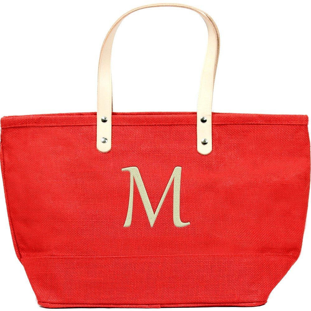 Custom embroidered initial on nantucket tote bag red