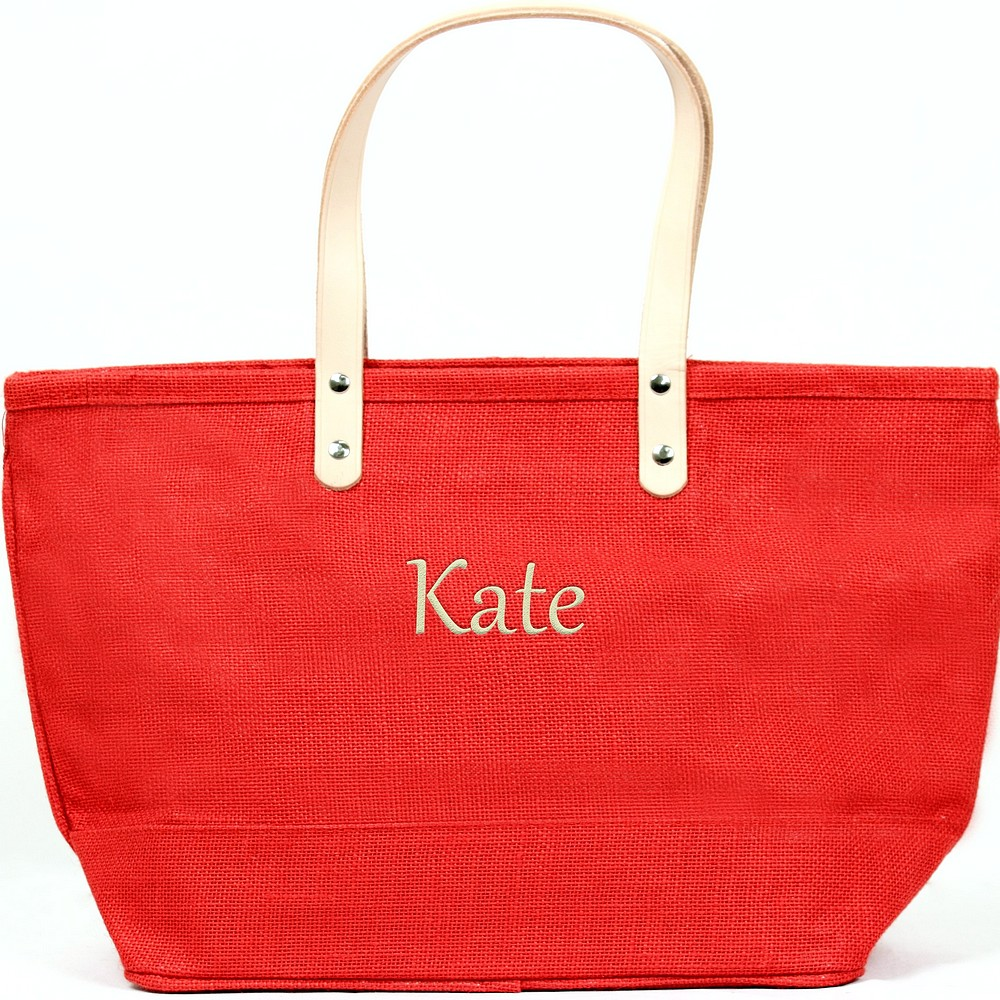 Custom embroidered name on nantucket tote bag red