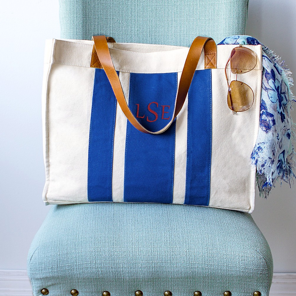 Blue stripe canvas tote personalized with 3 initial monogram