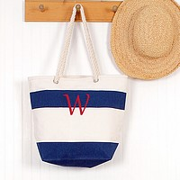 Personalized striped canvas tote with rope handles navy