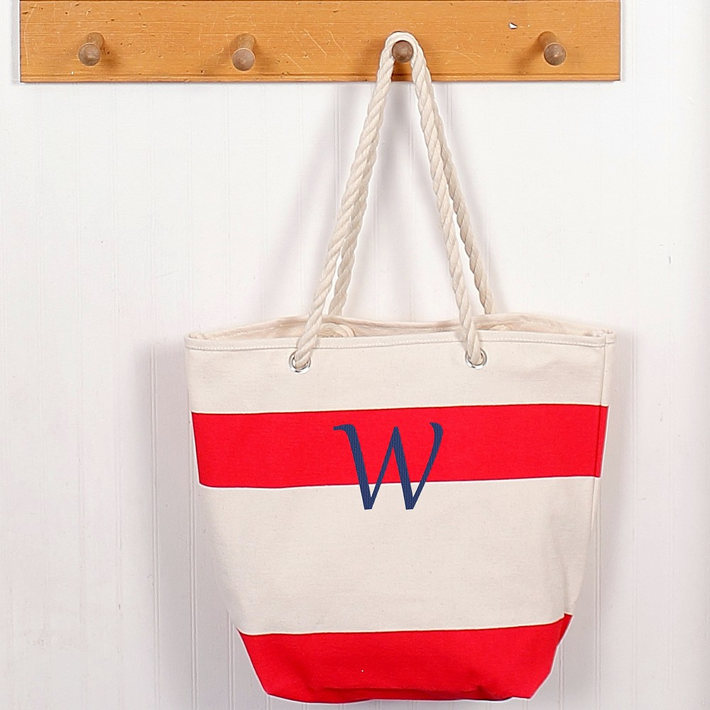 Personalized striped canvas tote with rope handles red