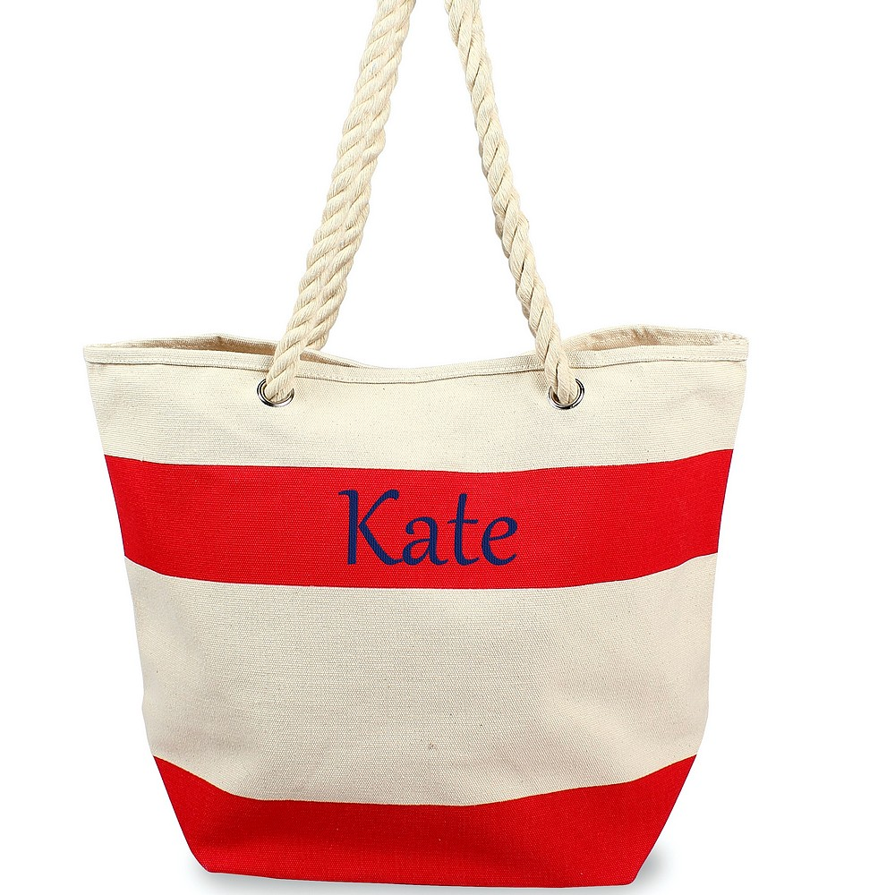 Custom embroidered name on striped canvas tote with rope handles red