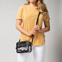 Clear Crossbody Stadium Bag shown in Black with 3 gold initials.