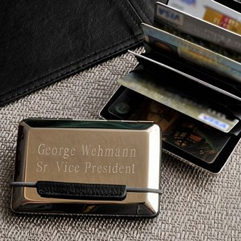 Professional silver in front & black leather in back card case, personalized with full name and title