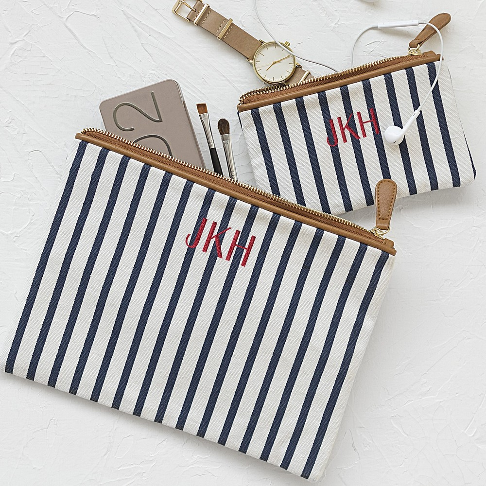 Women's white navy blue stripe canvas clutch set personalized with 3 letter monogram