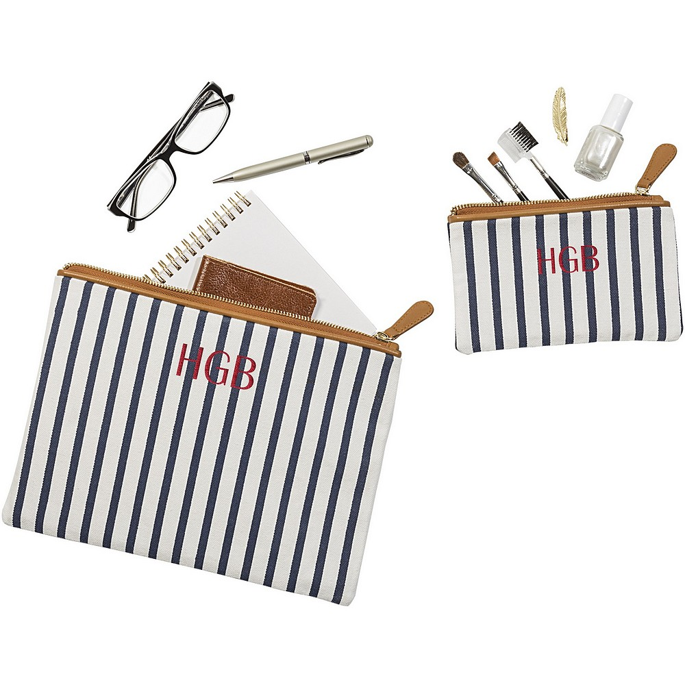 Personalized women's white and navy blue canvas clutch set for daily personal effects and makeup for travelling