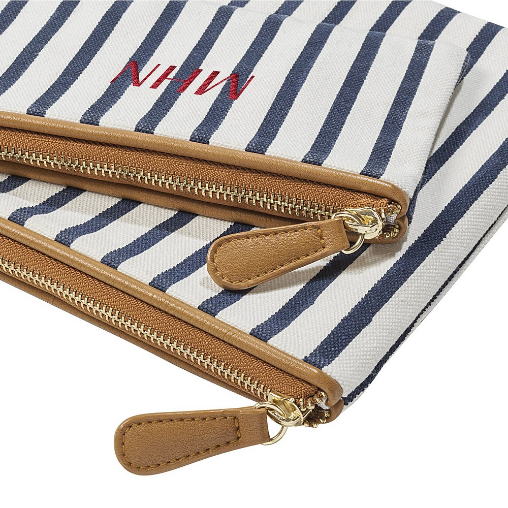 Closeup of zippered closures on personalized women's white and navy canvas clutch set