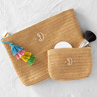 2 Piece Personalized Straw Clutch Set - Large with tassel and small without tassel