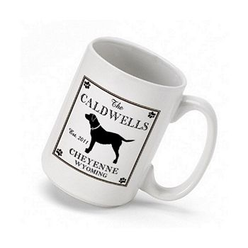 Cabin series coffee mugs personalized with Labrador design, name, city, state, and established year