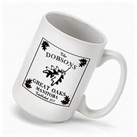 Cabin series coffee mugs personalized with white oak design, name, city, state, and established year