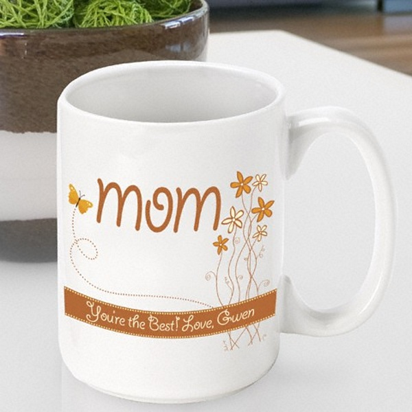 Spring flowers and butterfly designed white ceramic coffee mug