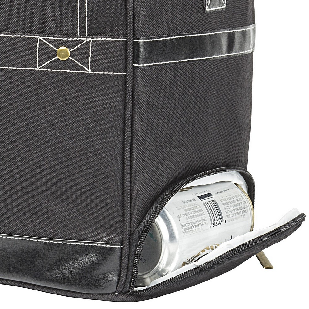 Closeup of zippered can dispenser on personalized black canvas 16 can soft sided cooler