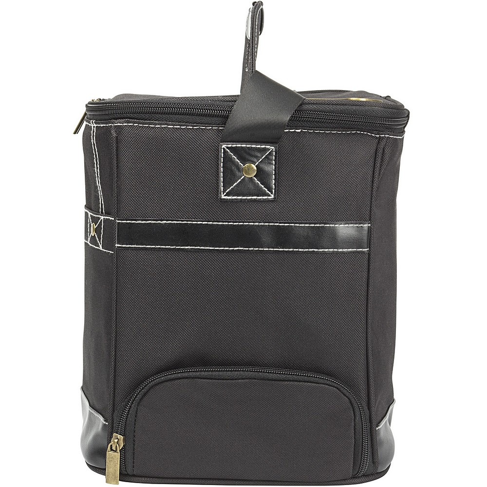 Side view of reflective insulated lining inside personalized black canvas can dispenser cooler