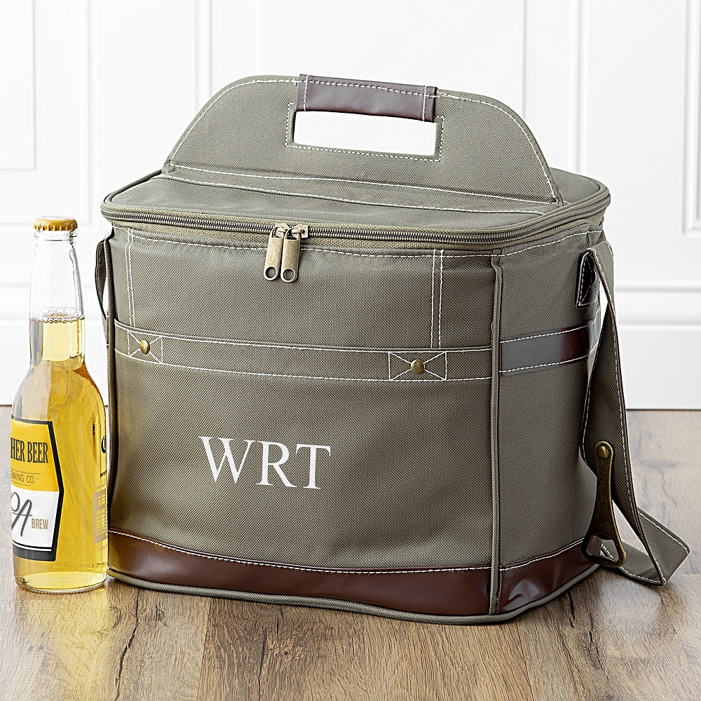 Green polyester canvas soft sided bottle cooler personalized  with 3 initials in choice of thread color