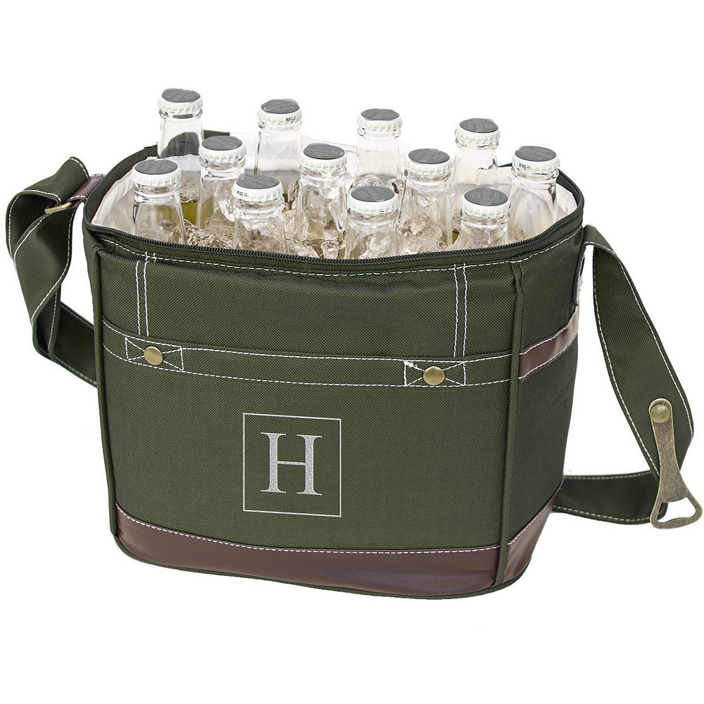Personalized green polyester canvas soft sided 12 pack bottle cooler will hold twelve 12 ounce bottles or eighteen 12 ounce cans for sporting events, parties, converts and tailgating