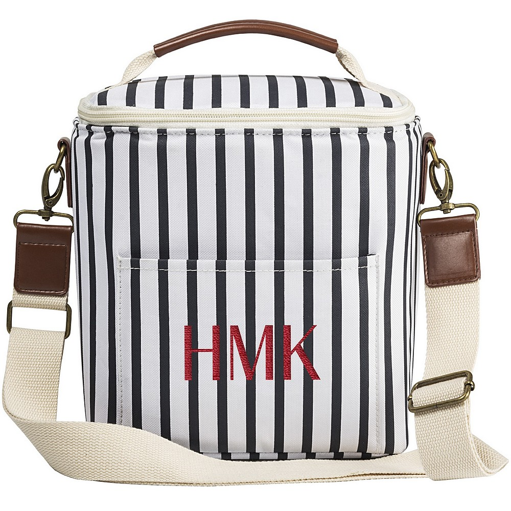 White and navy stripe soft sided lunch box cooler bag custom embroidered with 3 initials
