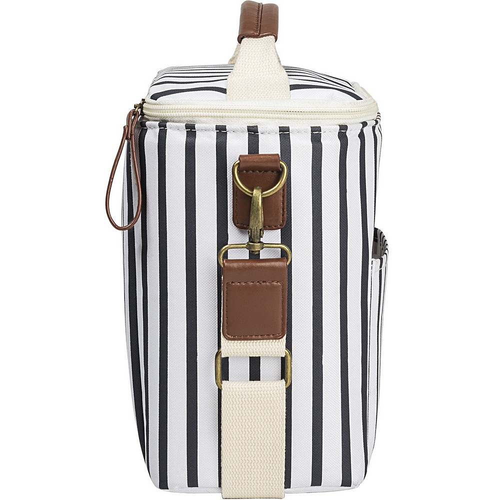 Side view of personalized white and navy blue stripe cooler lunch bag showing adjustable carry strap