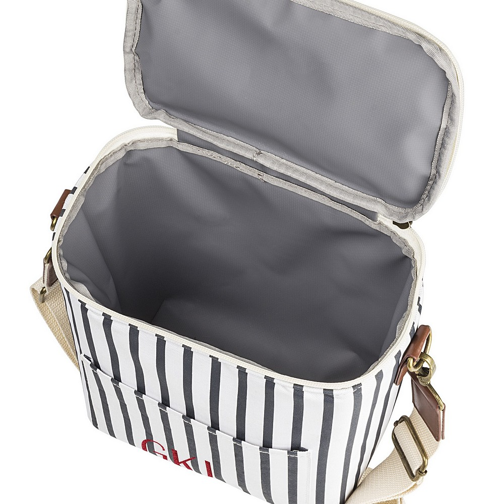 Top view of white and navy blue stripe cooler lunch bag showing interior insulated lining