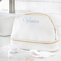 Personalized White Vegan Leather Cosmetic Travel Case Detail