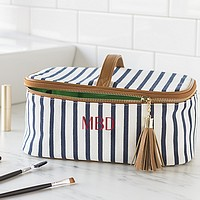 White and navy blue stripe cotton canvas train case cosmetic bag personalized with 3 custom embroidered initials