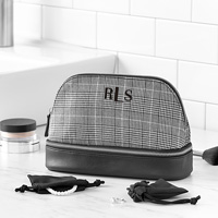 Personalized Glen Plaid Cosmetic Travel Case embroidered with three-letter monogram