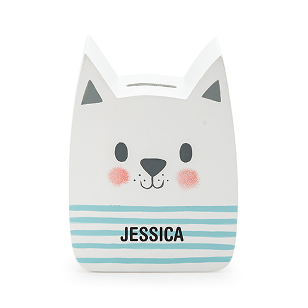 Personalized White Cat Piggy Bank