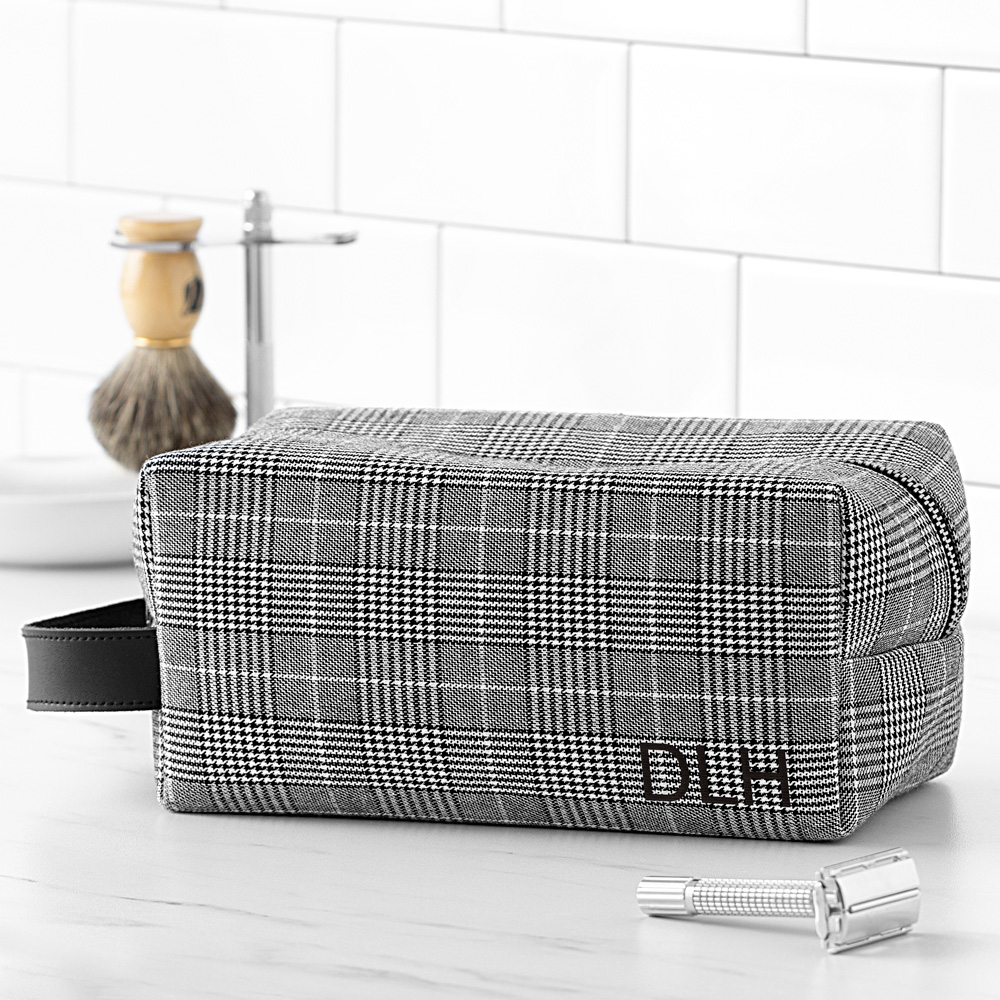Glen plaid toiletry dopp bag personalized with 3 initials on front side
