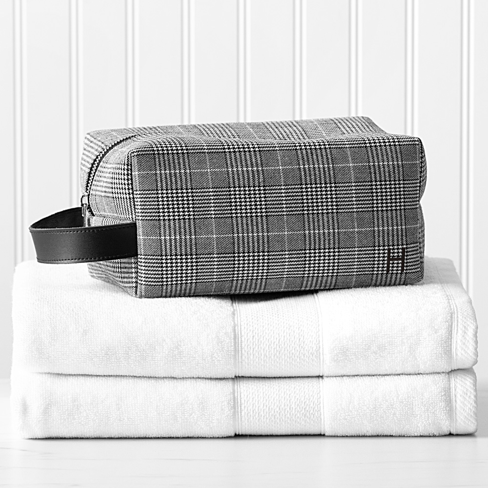 Glen plaid toiletry dopp bag personalized with single initial on front side
