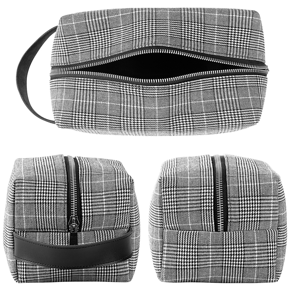 Top view and end views of Glen Plaid toiletry dopp bag