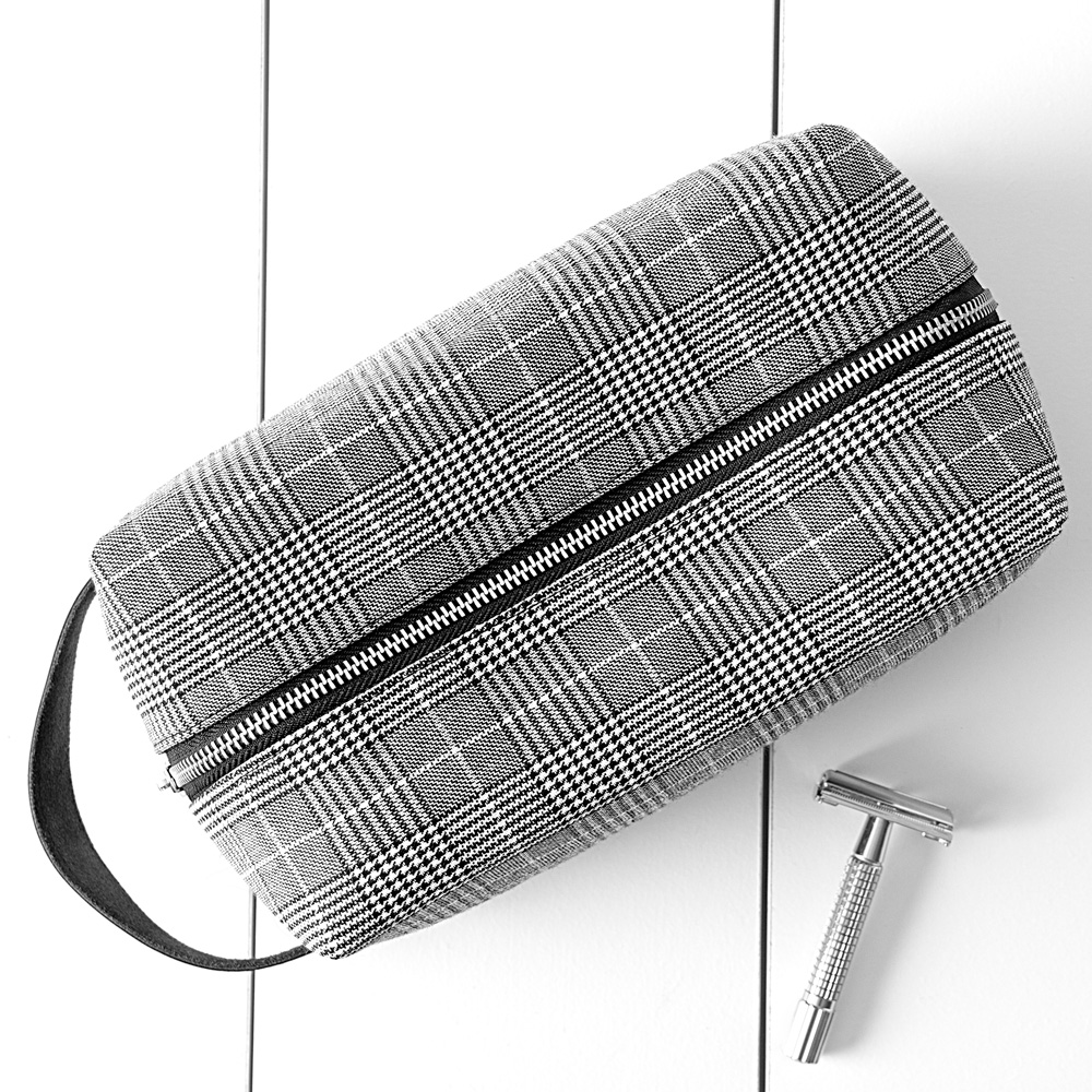 Top view of Glen Plaid toiletry dopp bag