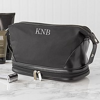 Large black microfiber & leather men's toiletry travel bag personalized with 3 custom initials