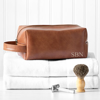 Brown vegan leather men's dopp bag personalized with 3 initials on front side