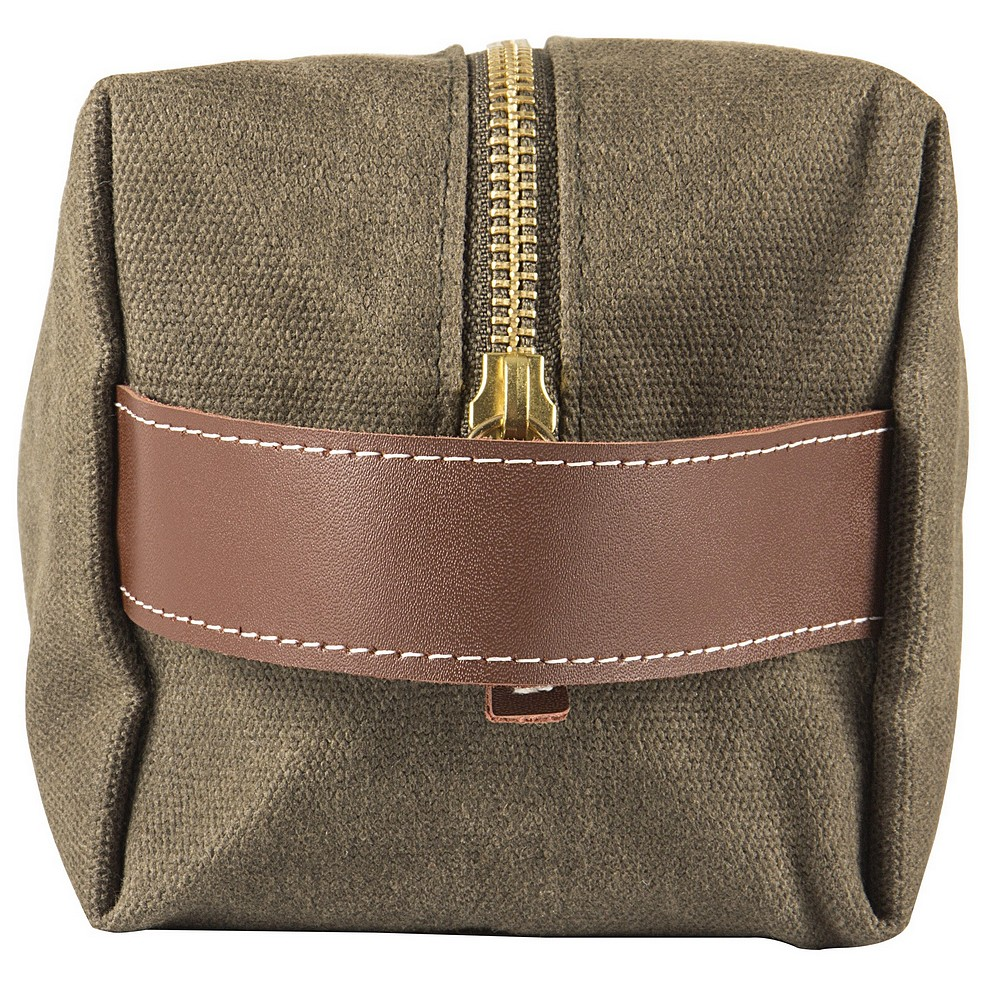 Faux leather handle on end of personalized canvas waxed dopp bag