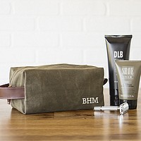 Waxed canvas dopp bag personalized with 3 initials on front side