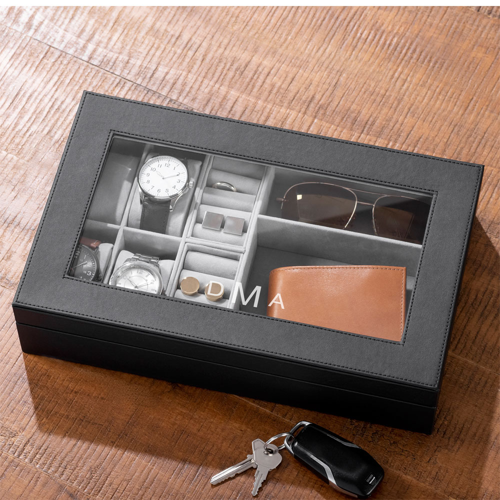 Personalized vegan leather valet box