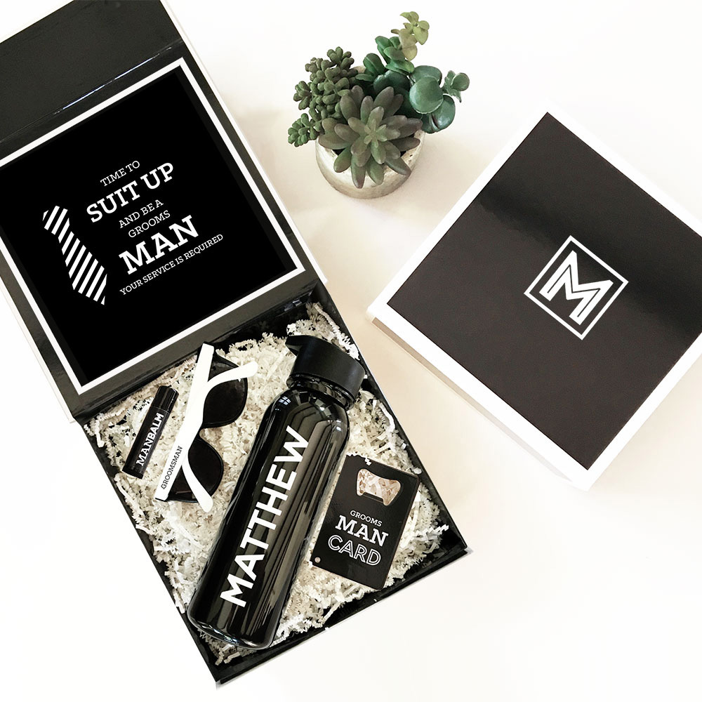 Suit Up Groomsman Personalized Black & White Wedding Party Gift Box