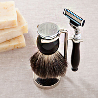 Personalized Badger Hair Brush and Razor Shaving Set
