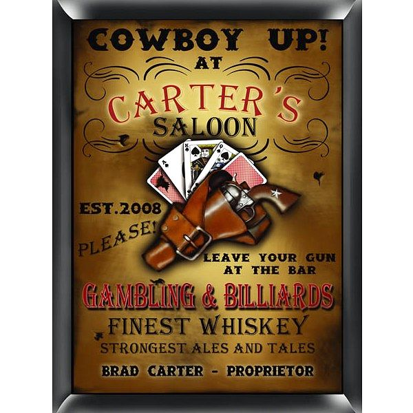 Western Saloon Personalized 9 X 12 Matte Finish Bar Sign