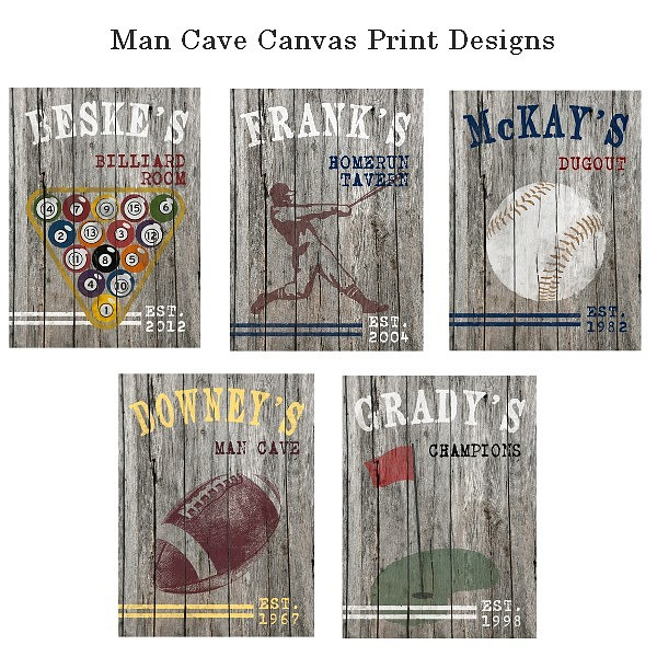 Man cave canvas print design options