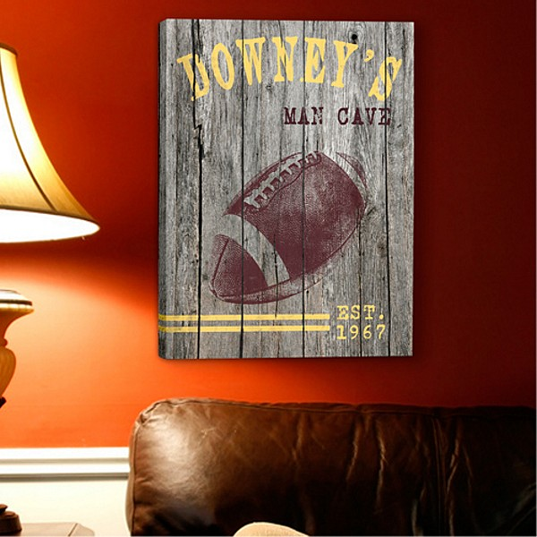 Football design man cave canvas print